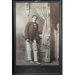 Cabinet Card Young Man With Racket c1900