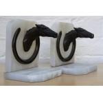 Stunning Thoroughbred Bronze & Marble Bookends