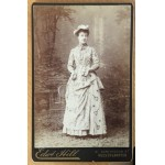 Rare Studio Card Featuring Young Woman with Racket, Ball & Dress with Minature Rackets & Balls c1880