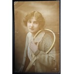 Young Woman With Tennis Racket Rotary Photo Postcard c1915