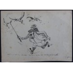 Signed Original Golf Caricature Sketch by P Hobbs c1920